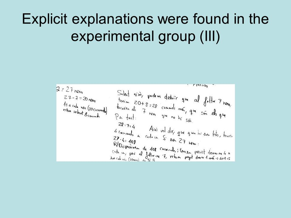 Explicit explanations were found in the experimental group (III)