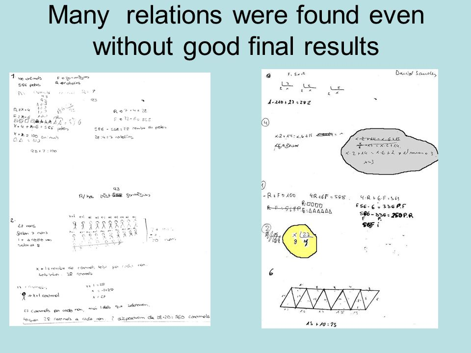 Many relations were found even without good final results