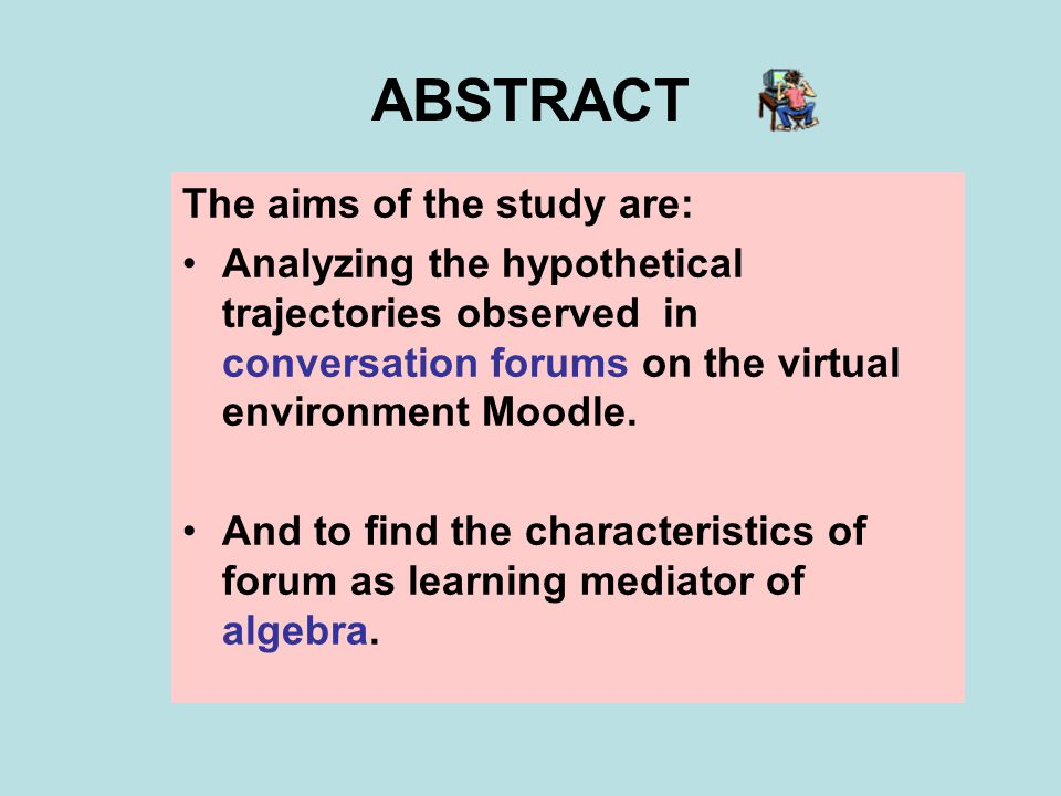 ABSTRACT The aims of the study are: