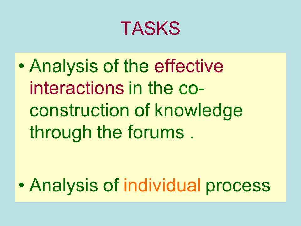 TASKS Analysis of the effective interactions in the co-construction of knowledge through the forums .