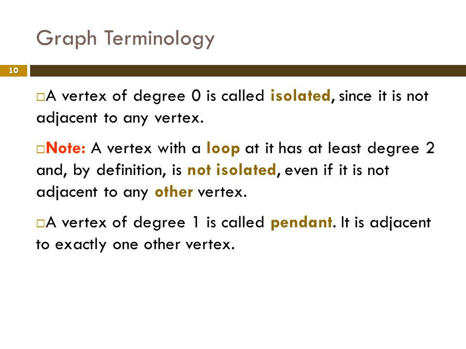 Graph Terminology A vertex of degree 0 is called isolated, since it is not adjacent to any vertex.