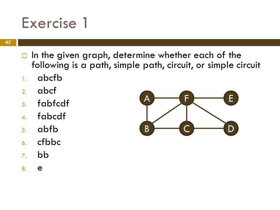 Exercise 1 In the given graph, determine whether each of the following is a path, simple path, circuit, or simple circuit.