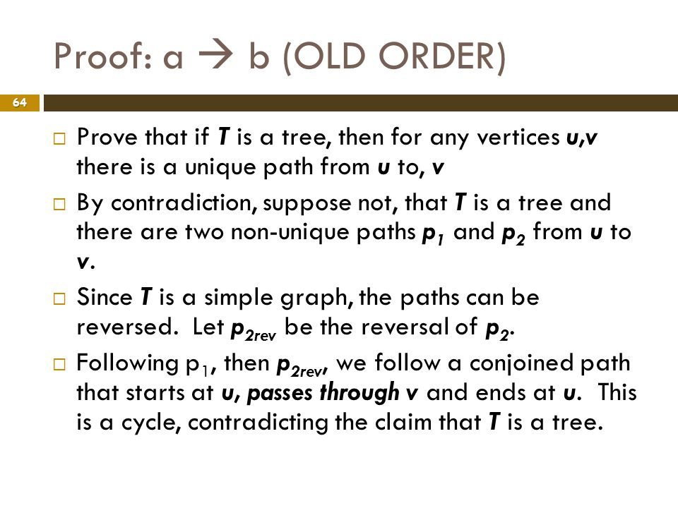Proof: a  b (OLD ORDER) Prove that if T is a tree, then for any vertices u,v there is a unique path from u to, v.