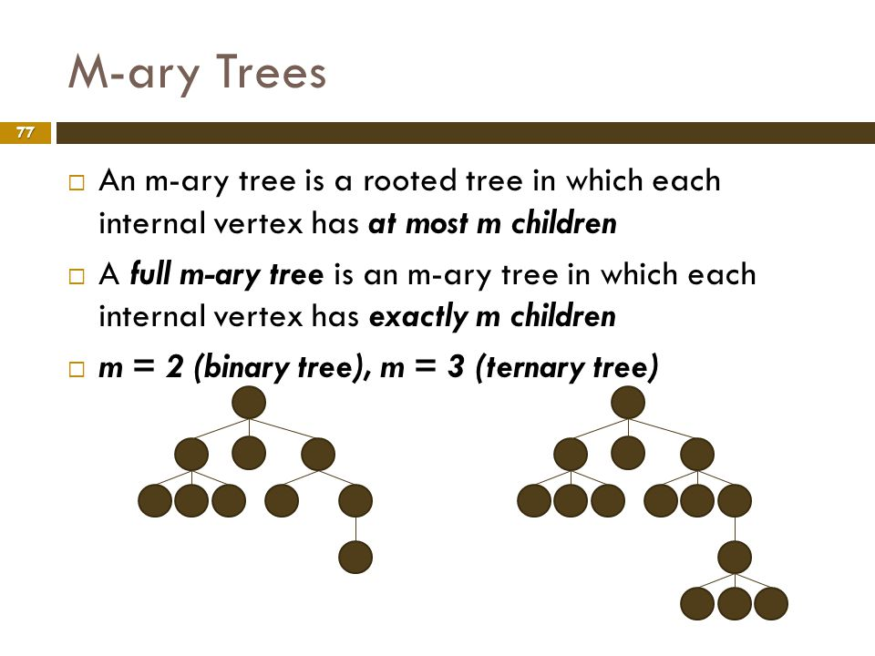 M-ary Trees An m-ary tree is a rooted tree in which each internal vertex has at most m children.