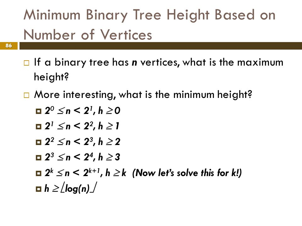 Minimum Binary Tree Height Based on Number of Vertices