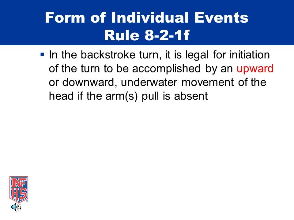 Form of Individual Events Rule 8-2-1f