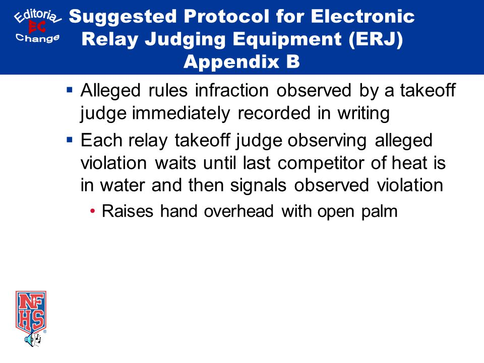 Suggested Protocol for Electronic Relay Judging Equipment (ERJ) Appendix B