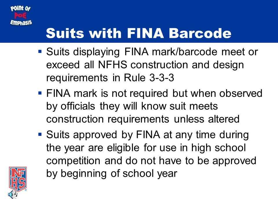 Suits with FINA Barcode