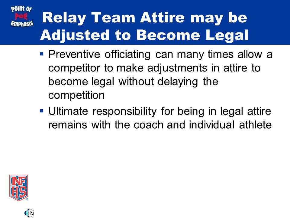 Relay Team Attire may be Adjusted to Become Legal