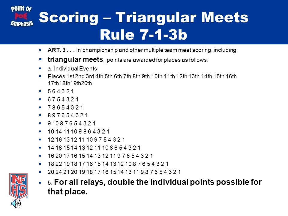 Scoring – Triangular Meets Rule 7-1-3b