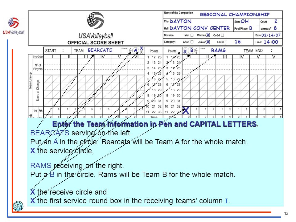 Enter the Team Information in Pen and CAPITAL LETTERS.