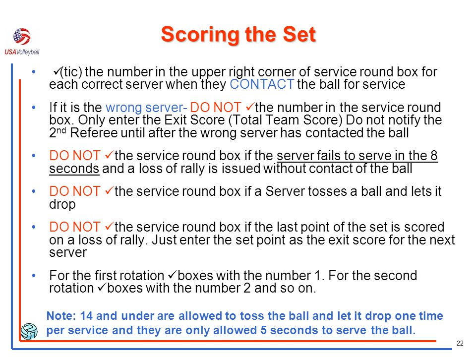 Scoring the Set ü(tic) the number in the upper right corner of service round box for each correct server when they CONTACT the ball for service.