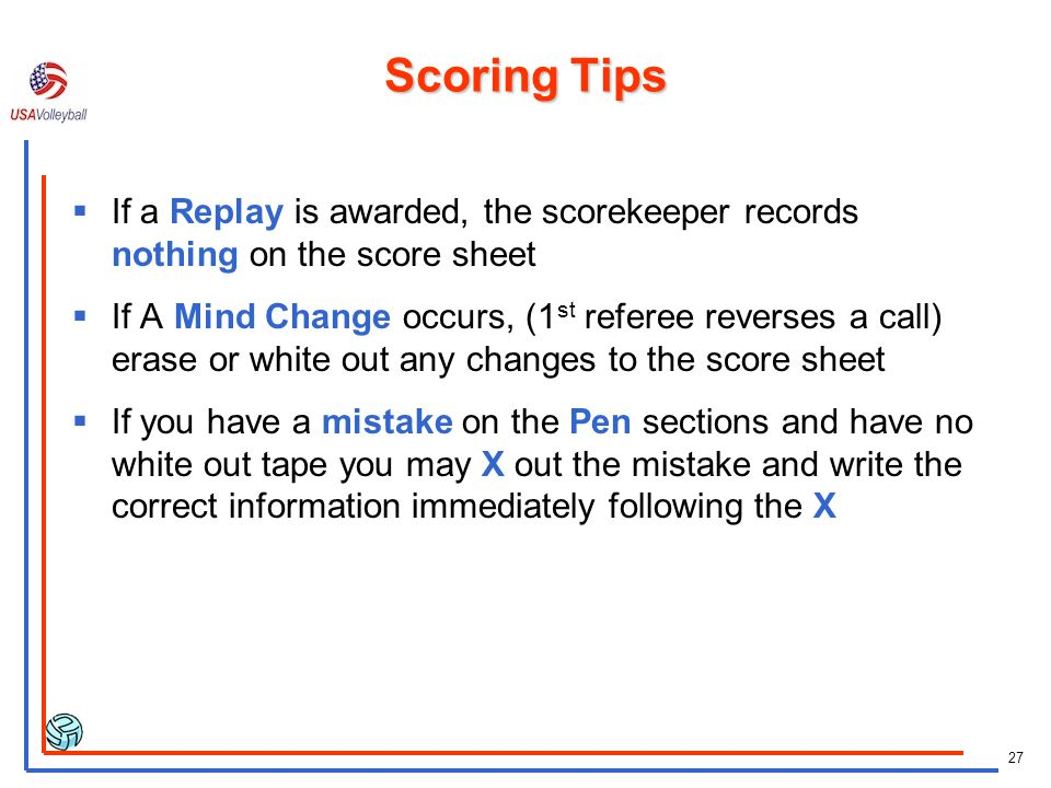 Scoring Tips If a Replay is awarded, the scorekeeper records nothing on the score sheet.