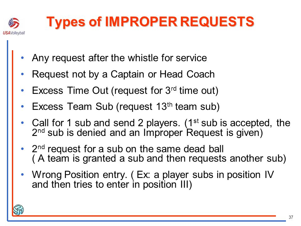Types of IMPROPER REQUESTS
