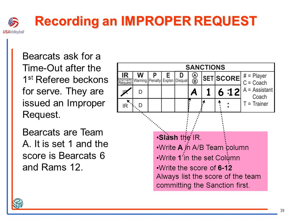 Recording an IMPROPER REQUEST