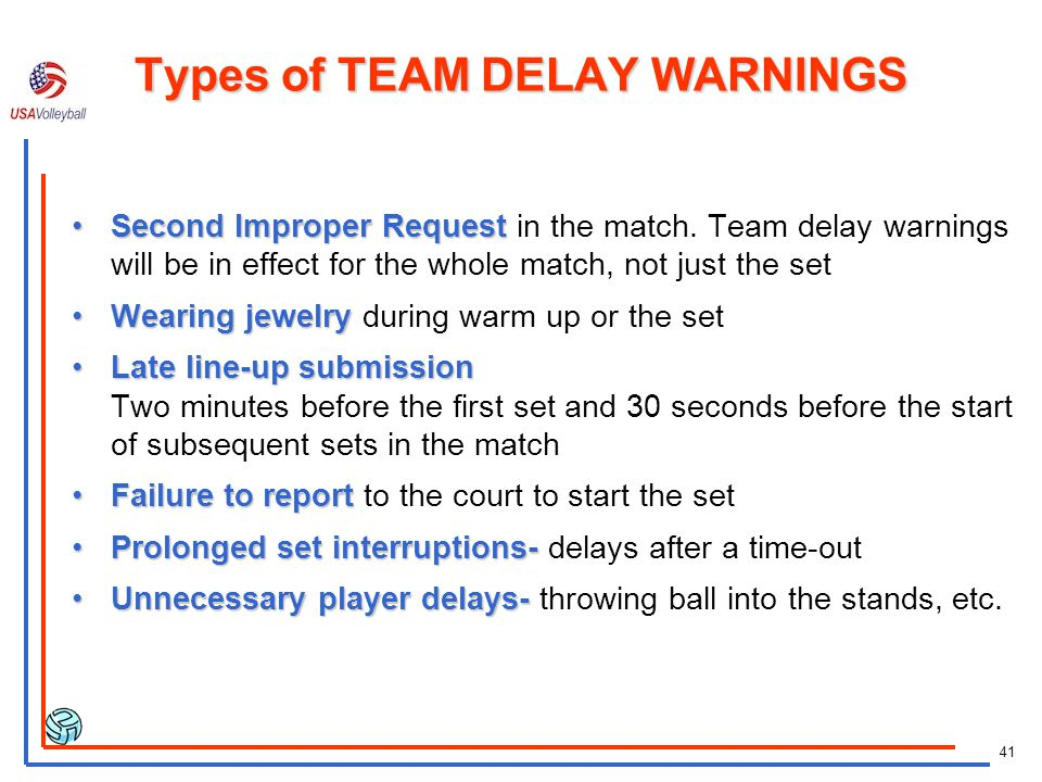 Types of TEAM DELAY WARNINGS