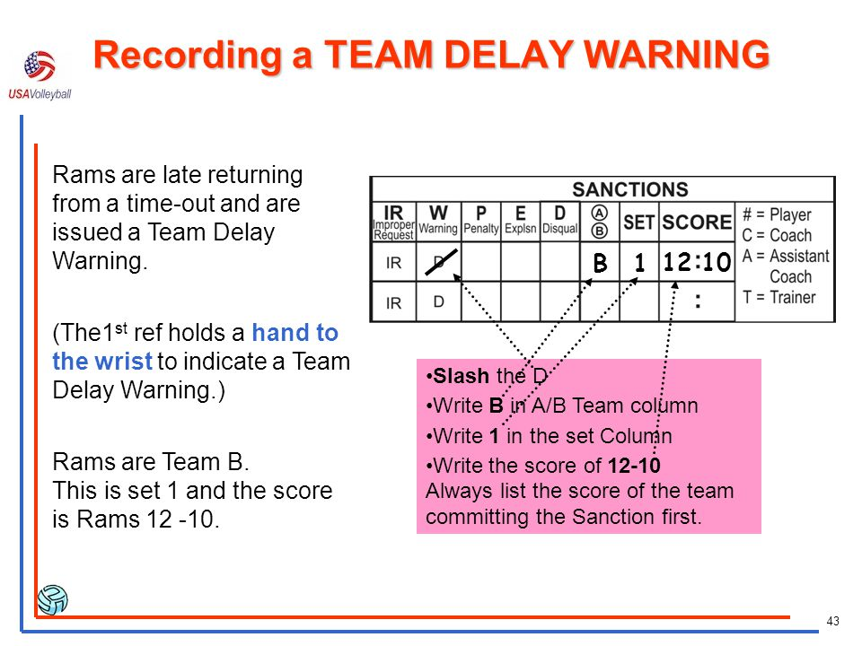Recording a TEAM DELAY WARNING