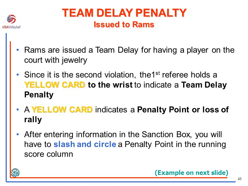TEAM DELAY PENALTY Issued to Rams