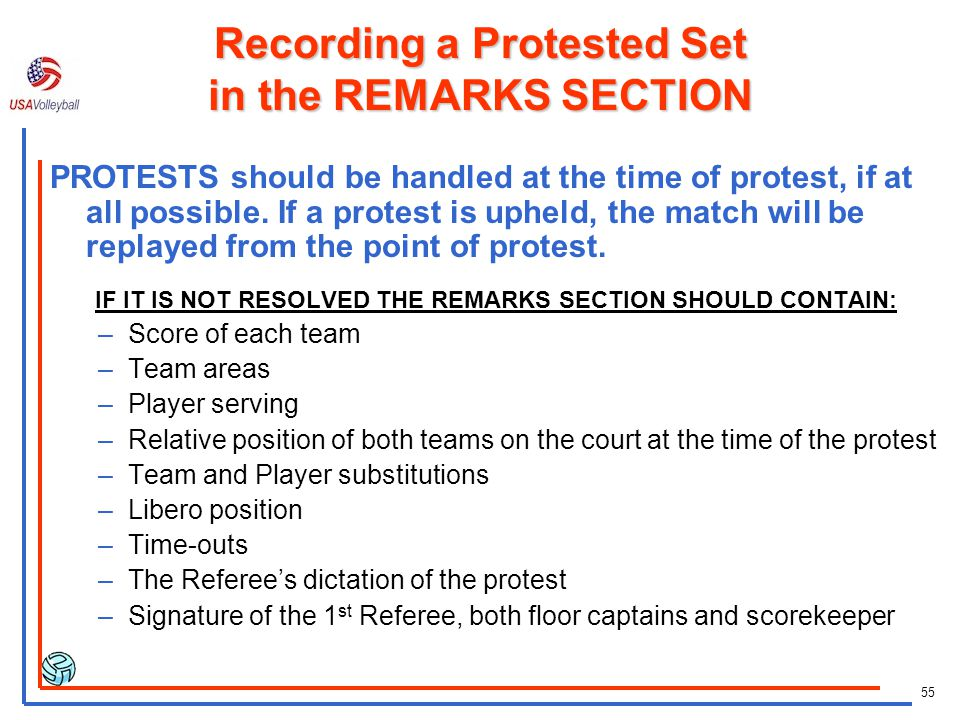 Recording a Protested Set in the REMARKS SECTION