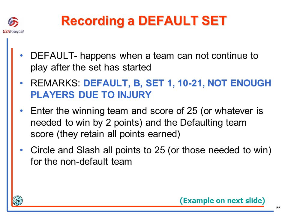 Recording a DEFAULT SET
