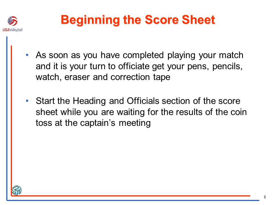 Beginning the Score Sheet