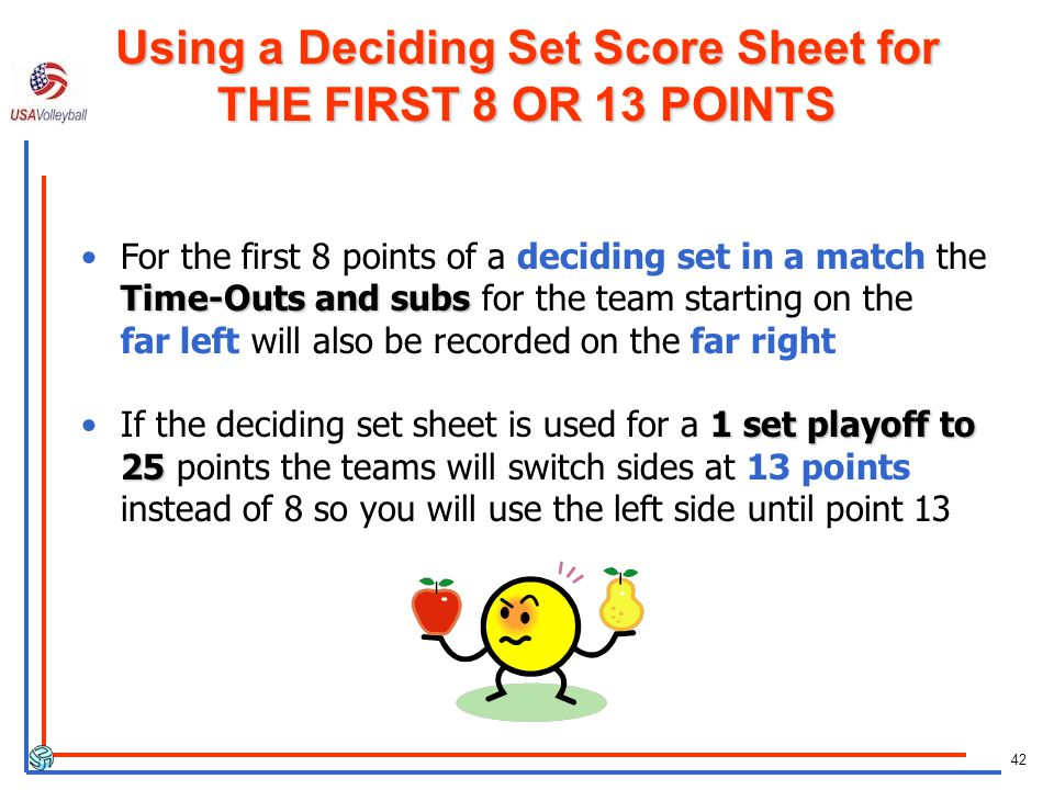 Using a Deciding Set Score Sheet for THE FIRST 8 OR 13 POINTS
