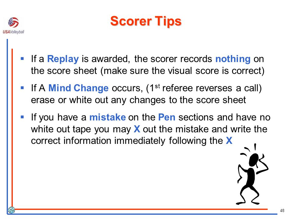 Scorer Tips If a Replay is awarded, the scorer records nothing on the score sheet (make sure the visual score is correct)