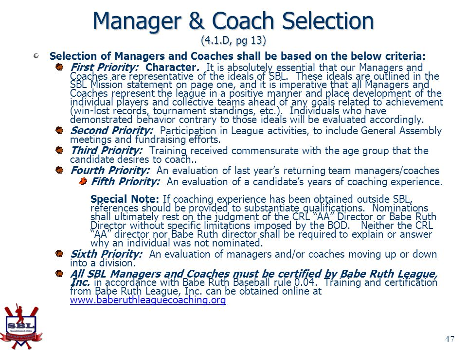 Manager & Coach Selection (4.1.D, pg 13)