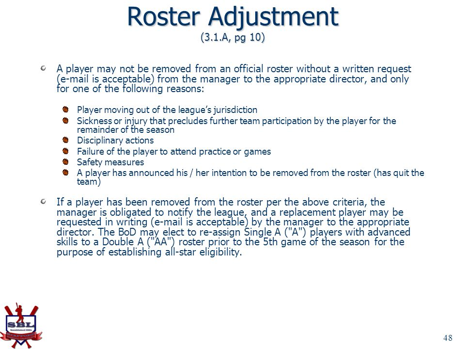 Roster Adjustment (3.1.A, pg 10)