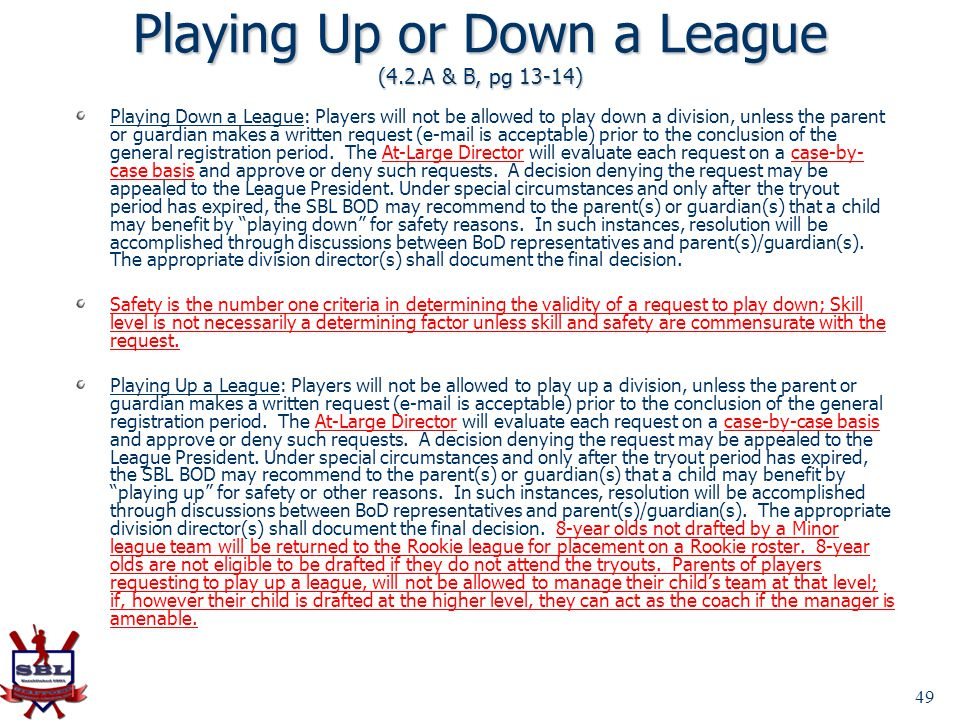 Playing Up or Down a League (4.2.A & B, pg 13-14)