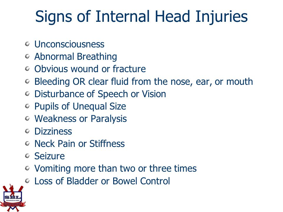 Signs of Internal Head Injuries