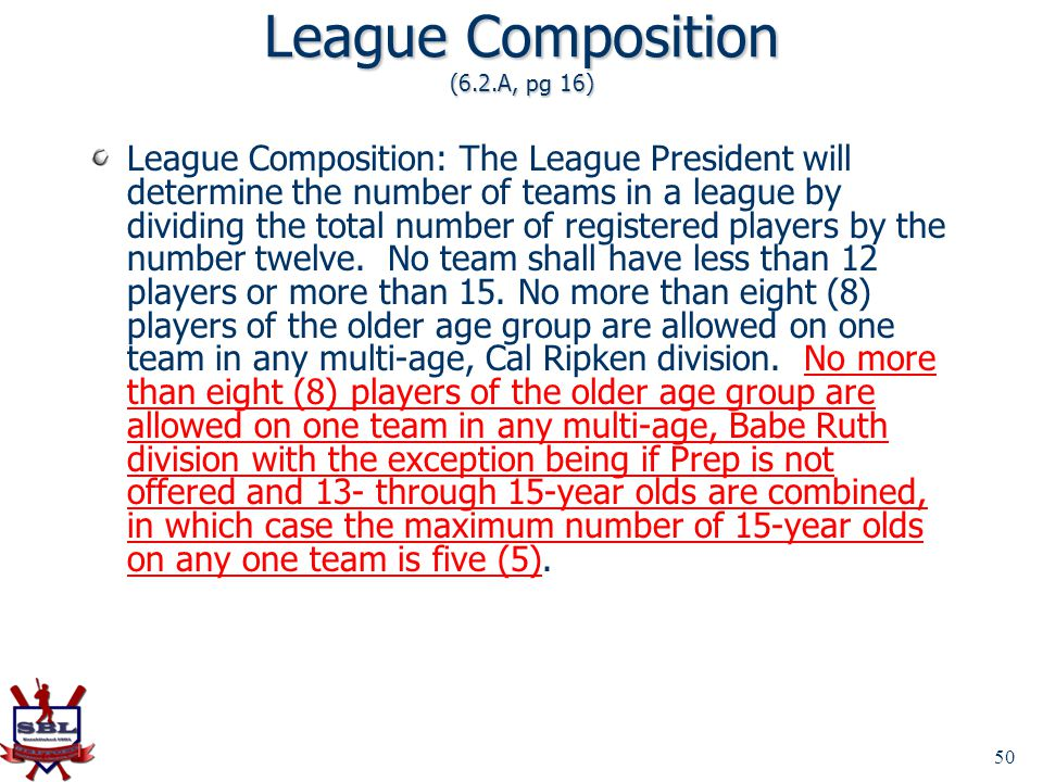 League Composition (6.2.A, pg 16)