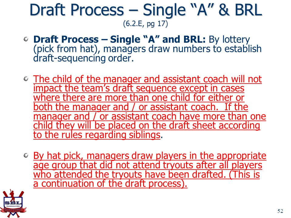 Draft Process – Single A & BRL (6.2.E, pg 17)