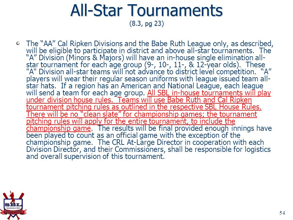 All-Star Tournaments (8.3, pg 23)