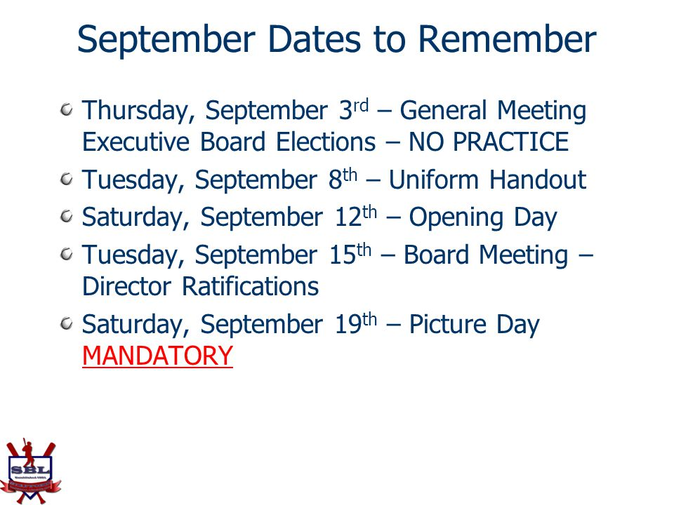 September Dates to Remember