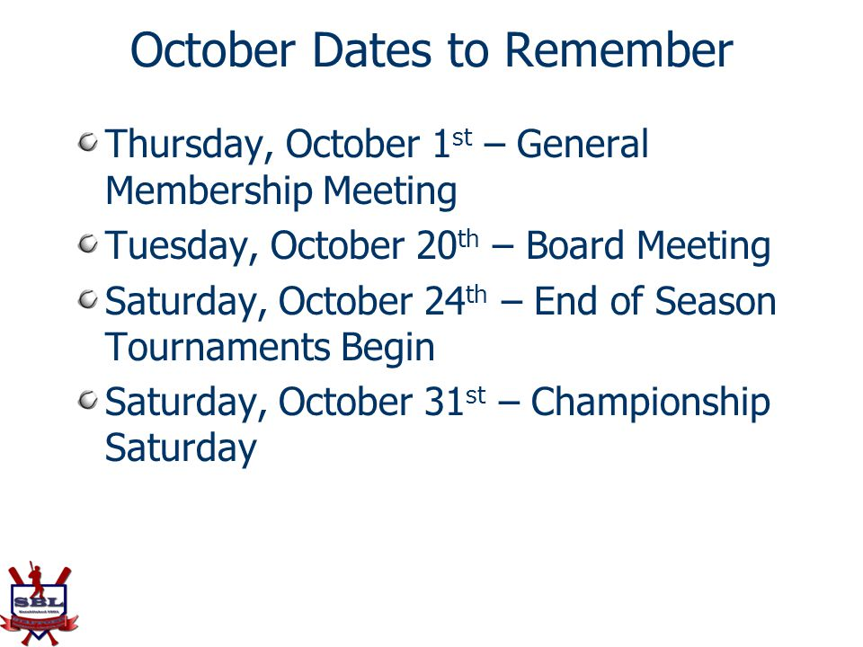 October Dates to Remember