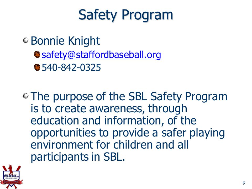 Safety Program Bonnie Knight