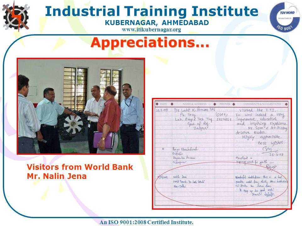 Appreciations... Visitors from World Bank Mr. Nalin Jena