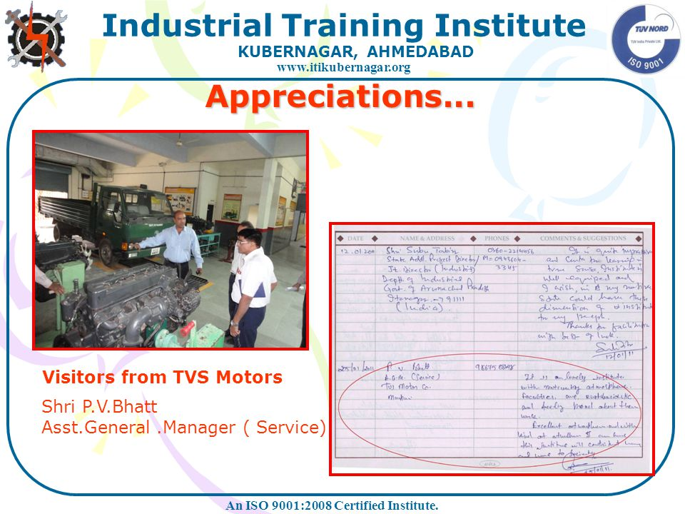 Appreciations... Visitors from TVS Motors Shri P.V.Bhatt