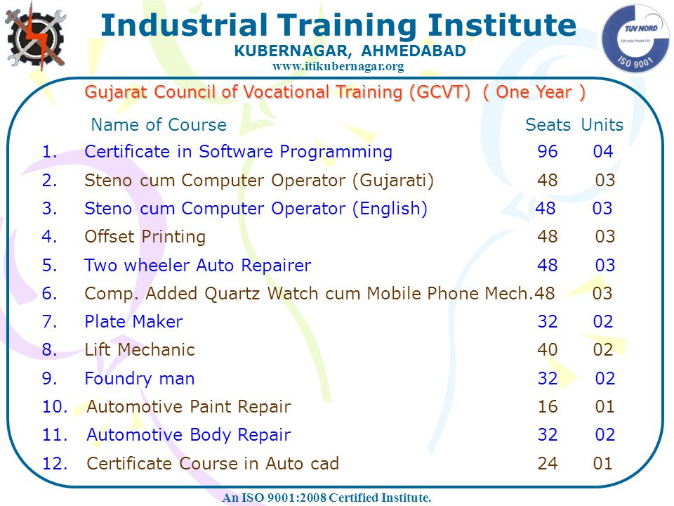 Gujarat Council of Vocational Training (GCVT) ( One Year )