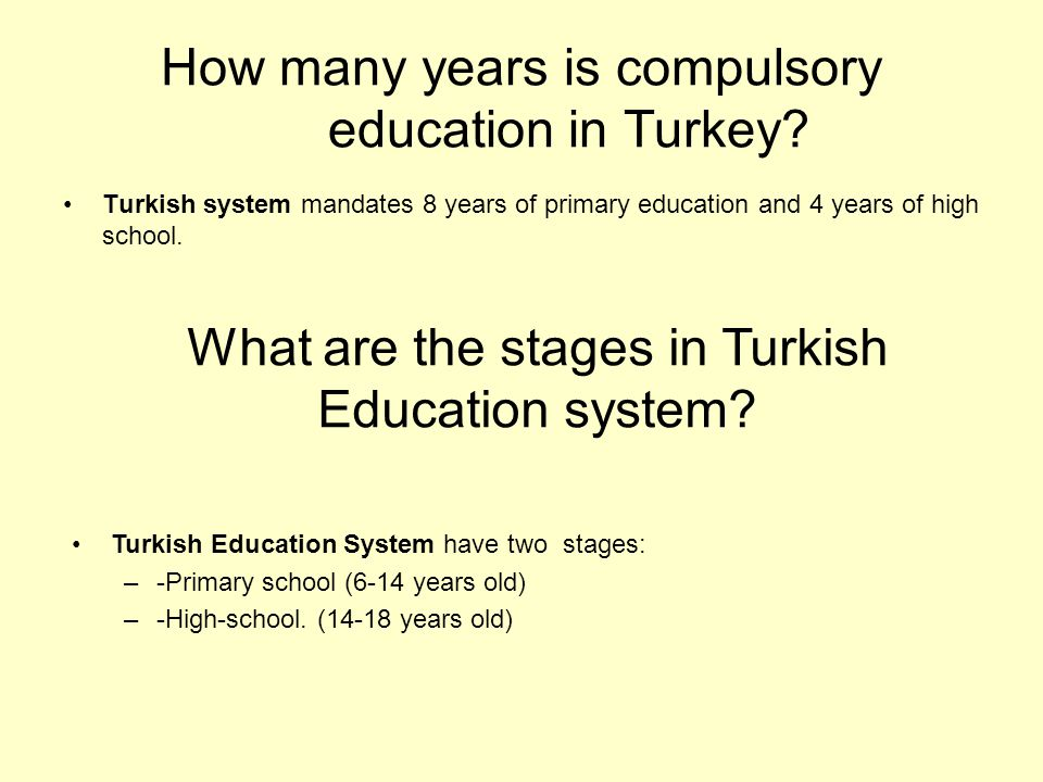 How many years is compulsory education in Turkey