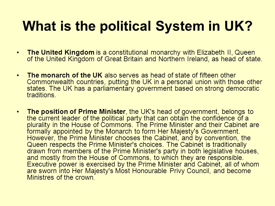 What is the political System in UK