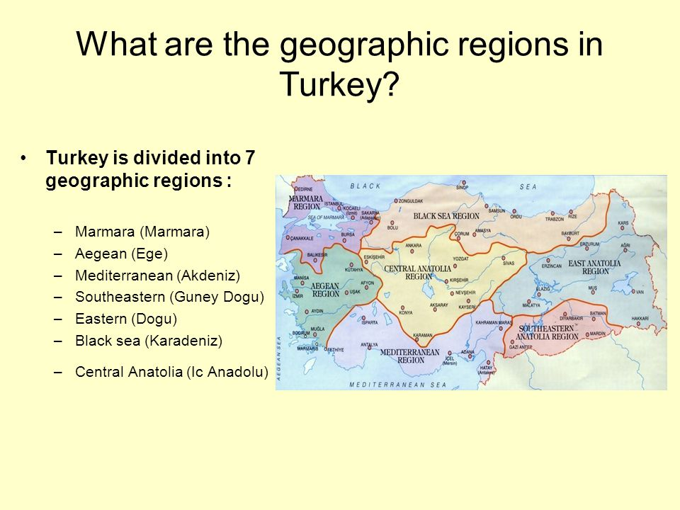What are the geographic regions in Turkey