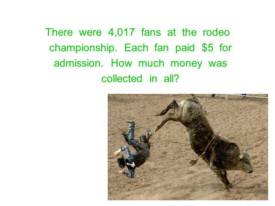 There were 4,017 fans at the rodeo championship. Each fan paid $5 for