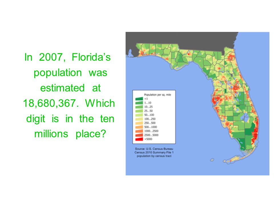 In 2007, Florida's population was. estimated at. 18,680,367. Which. digit is in the ten.