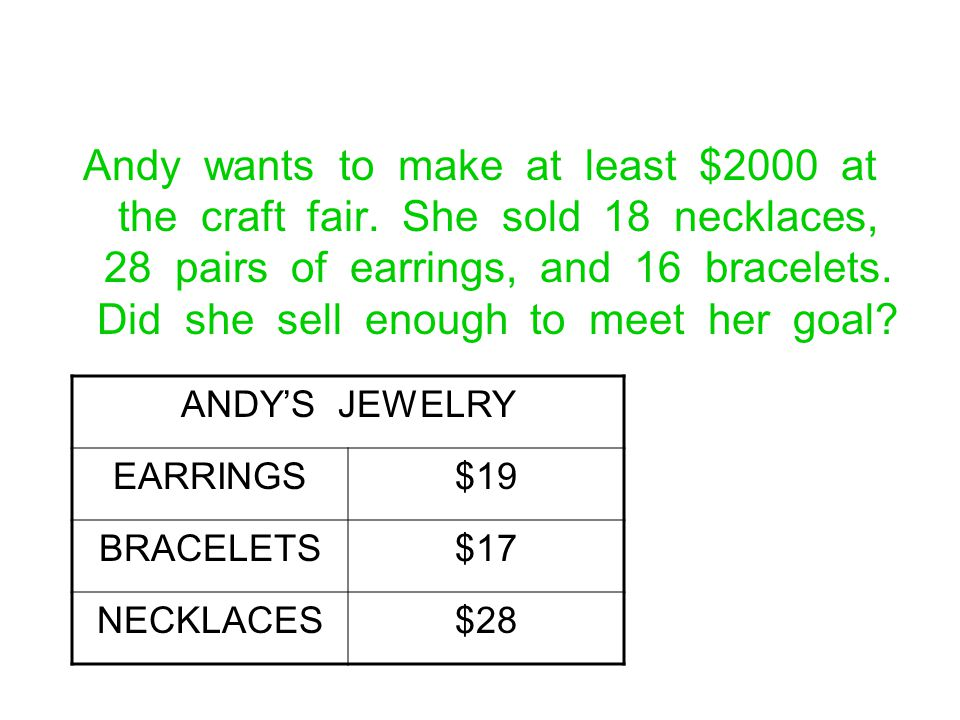 Andy wants to make at least $2000 at the craft fair
