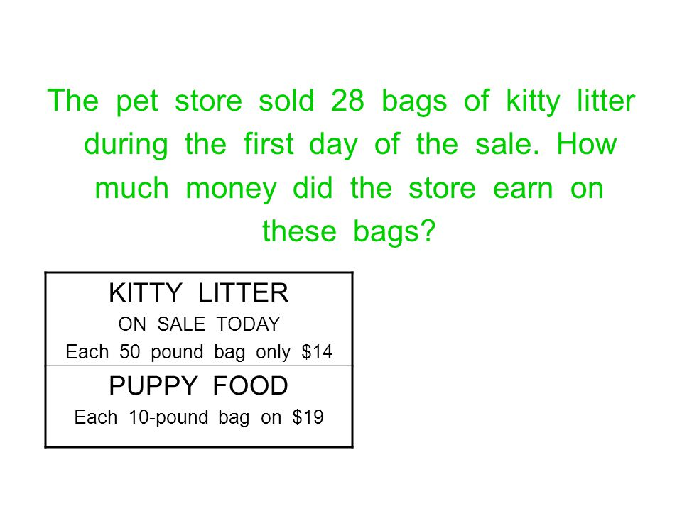 The pet store sold 28 bags of kitty litter