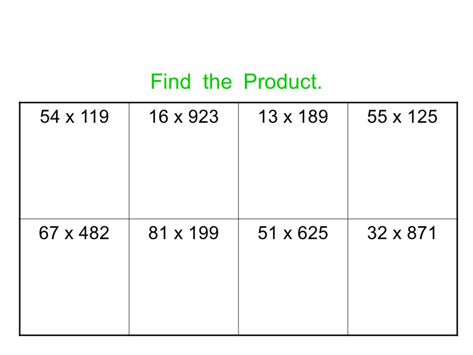 Find the Product. 54 x 119 16 x 923 13 x 189 55 x 125 67 x 482 81 x 199 51 x 625 32 x 871