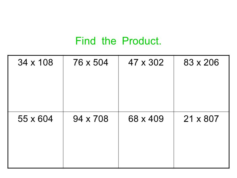 Find the Product. 34 x 108 76 x 504 47 x 302 83 x 206 55 x 604 94 x 708 68 x 409 21 x 807