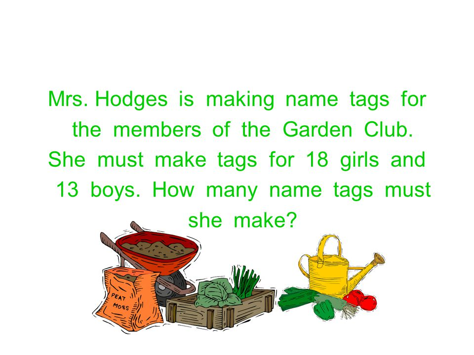 Mrs. Hodges is making name tags for the members of the Garden Club.